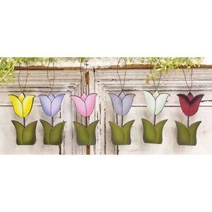 Lot of 6 Wood Tulip Ornaments Farmhouse Spring Decor NIP Hearthside