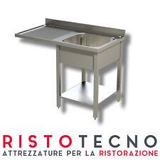 Lavatoio Lavello inox 1 vasca sgocciolatoio Sinistro lavastoviglie 120x70x85H.