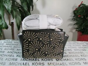 NWT Michael Kors Leather Selma Stud Firework Medium Messenger Black / Gold