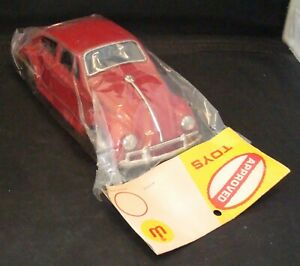 "Vintage 1960s Red Volkswagen Beetle 8"" Long Tin Friction Toy Car MIP! Rare! WoW!"