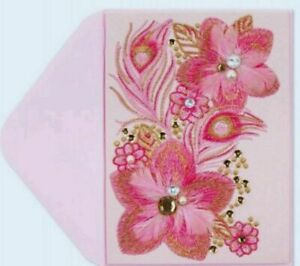 Papyrus Breast Cancer Research Foundation Embroidered Floral Blank Greeting Card