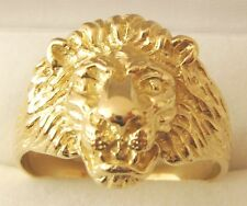 GENUINE 9K 9ct SOLID GOLD MEN'S LION HEAD RING Size T/10 to W/11.5