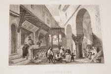 GRAVURE SUR ACIER ALGERIE BOUTIQUES A ALGER 1844 ROUARGUE A24