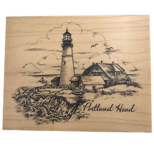 PSX Rubber Stamp K2779 Portland Head Lighthouse RARE Wood Block 1999 Made in USA