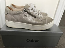 Gabor Leather Trainers Shoes In Beige/cream Shimmer  4.5 EU37.5