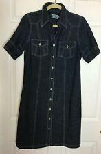 Miss Etam Button-Front Denim Jean Dress with Stitch Trim, Size M