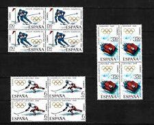 Spain, 1968 Winter Olympics complete set MNH blocks of 4 (S480)