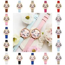Fashion Women Analog Gold Round Flowers Butterfly Quartz PU Leather Wrist Watch