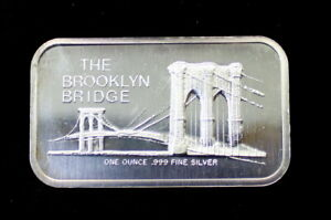 1973 The Brooklyn Bridge Colonial Mint Silver Art Bar Type 3 Reverse .999 Fine S