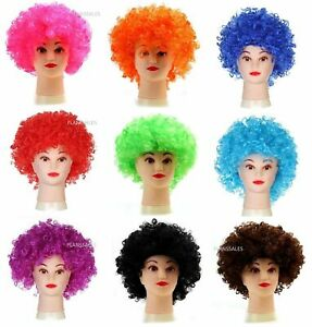 AFRO WIG  MULTI COLOUR 80s CURLY PARTY CLOWN FUNKY DISCO  WIGS  MENS OR LADIES