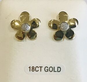 18ct Gold 2-Colour Flower Stud Earrings with UK Hallmark New