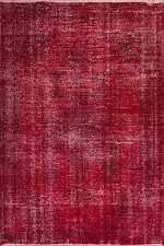 4x7 Ft Red & Burgundy Color OVERDYED Handmade Vintage & Modern Turkish Rug  k252
