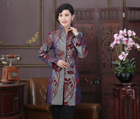 Chinese style costume women's silk embroidery jacket long coat size: M to 3XL