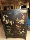Vintage Chinese Black Lacquer Hand Painted Hand Carved Jade,Jadeite Cabinet L@@k