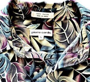 Pierre Cardin Hawaiian Men's Button Up Shirt Sz L Rayon Short Sleeve Green Wine