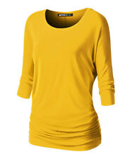 Doublju Yellow Side-Ruched Scoop Neck Dolman Top SIZE S NEW