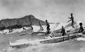 Surf waikiki Vintage  Art Print Poster photo Hawaii Black White long Board