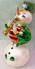 New Slavic Treasures Retired Glass Ornament - Snowman Bandtrumpet extreme