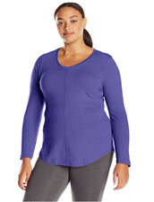 New Just My Size Cotton Blend Center Seam L/S V Neck Tee Top 5X  Heather Blue