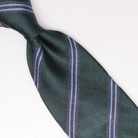 Gladson Mens Silk Necktie Green Gray Light Blue Stripe Weave Woven Tie Italy