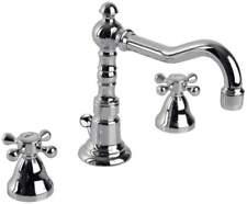 Rubinetto rubinetteria bagno 3 fori canna alta girevole per lavabo Retro cromo