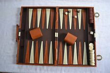 BACKGAMMON VINTAGE SET FAUX LEATHER, FELT LINED
