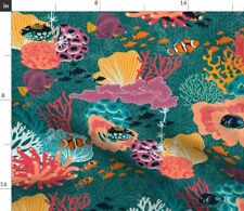 New listing Coral Reef Restoration Fish Colorful Summer Spoonflower Fabric by the Yard