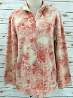 Additions by Chico's Size 2 Full Zip Jacket Peach Floral Long Sleeve Large