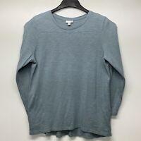 J. Jill Size XL Petite Blue Long Sleeve Crew Neck Tunic Shirt W/ Pockets