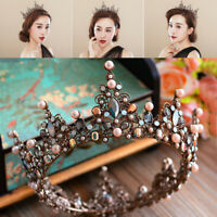 7.5cm High Round Crystal Tiara Crown Wedding Bridal Birthday Prom Party Pageant