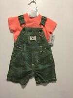 Carters Baby Boy Tee & Leaves Print Shortall Set Size 6 M NWT