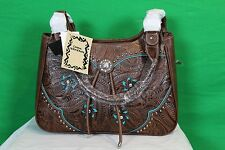 Western Style Concealed Carry Purse New Embossed Leather Medium Sized Brown CCW