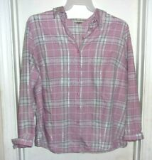 994f2c5d Allison Daley Pink Green White Silver Plaid Button Front Long Sleeve Top 18W