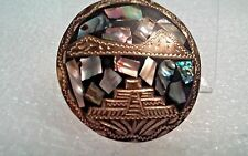 Vintage Taxco Mexico Sterling Silver and Abalone Pyramid Pin/Brooch/Pendant