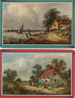 #Vintage Swap / Playing Card - 2 SINGLE - COTTAGES - BY THE SEA AND COUNTRYSIDE