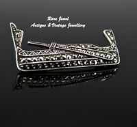 ART DECO STERLING SILVER BROOCH LOVELY GONDOLA WITH MARCASITE