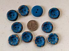 "Lot of 10 Large BLUE FLOWER 2-hole 1"" Wood Buttons Scrapbook Craft Doll (191)"