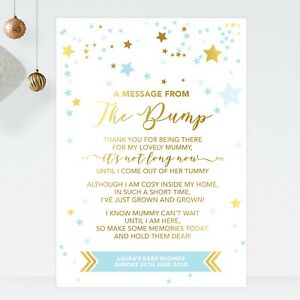 Baby Shower Sign A Message From The Bump Poem Gold Effect & Blue Stars (ST24)
