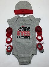AIR NIKE Baby Boys 5-pieces outfit set  Bodysuit, Booties & Cap 0-6 Months GRAY
