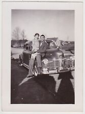 Vintage 30s 40s PHOTO Little GIRL On Man's Dad's Lap On Car Auto