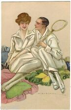 POSTCARD ITALIAN TENNIS COUPLE SIGNED DUDOVICH IMAGE 1