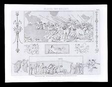 1874 Print - Ancient Roman Wall Painting & Mosaics - Pompeii Alexander the Great