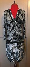NEXT monochrome black white jewelled beaded 3/4 sleeve tunic shirt dress UK 12