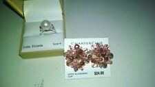 NEW CHARTER CLUB JEWELRY CZ  & FAUX PEARL RING AND EARRING COLLECTION MACYS~~