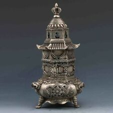 chinese old copper plating silver Handwork-Carved Pagoda Incense Burner e01