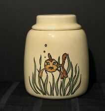 VINTAGE PFALTZGRAFF  COOKIE JAR 1930'S YELLOW WITH WHIMSICAL GOLDFISH