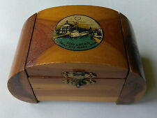 THE SOO LOCKS Sault Ste Marie Michigan Souvenir Wood Box Estate Find Antique OLD