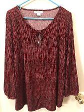 LIZ CLAIBORNE Plus Size 3X Red/Black Front Tie Jersey Knit Top