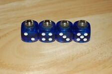DUDDS DICE BLUE GEM w/WHITE DOTS VALVE STEM CAPS (4 PACK)