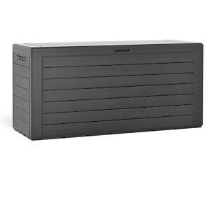 Coffre de rangement effet bois 120x46x57cm Couvercle rabattable Stockage jardin